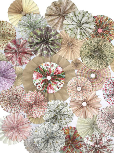Pinwheel Rosettes Vintage Floral Pattern Backdrop - 9659 - Backdrop Outlet