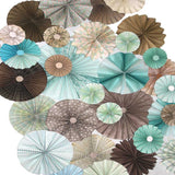 Pinwheel Rosettes Tiffany Aqua Light Blue Gray Backdrop - 9660 - Backdrop Outlet