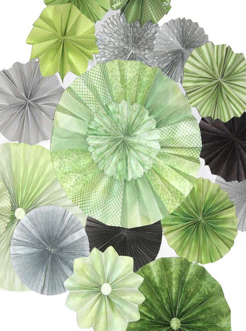 9661 Pinwheel Rosettes Gray Lime Green Mint Bright Green Backdrop - Backdrop Outlet