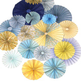 Pinwheel Rosettes Blue Yellow Backdrop - 9662 - Backdrop Outlet