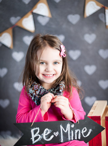 9681 Chalkboard Hearts Backdrop - Backdrop Outlet