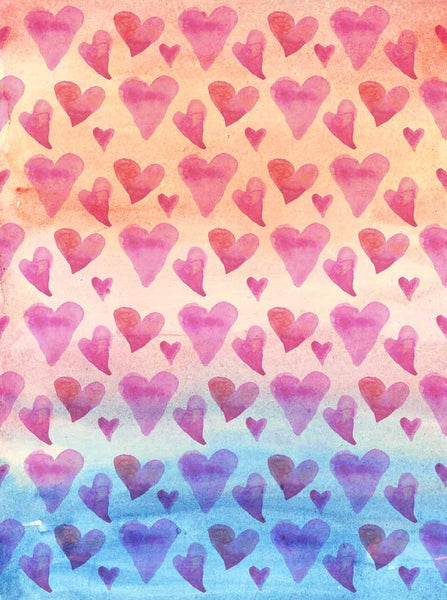 Watercolor Hearts Backdrop - 9684 - Backdrop Outlet