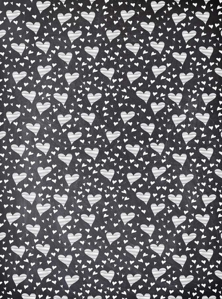 9690 Chalkboard Hearts Backdrop - Backdrop Outlet
