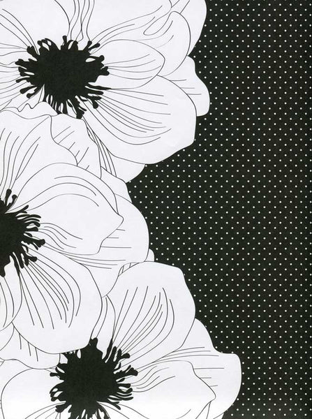 White and Black Flower Backdrop - 9742 - Backdrop Outlet