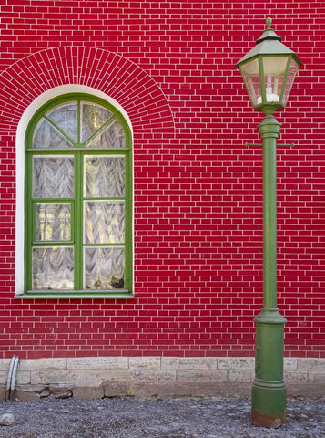 996 Red Brick Window Wall Backdrop - Backdrop Outlet