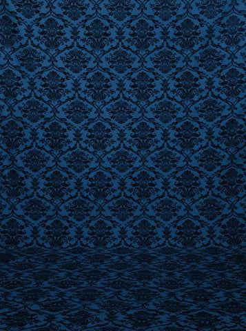 Printed Blue Damask Photography Backdrop - mc049 - Backdrop Outlet