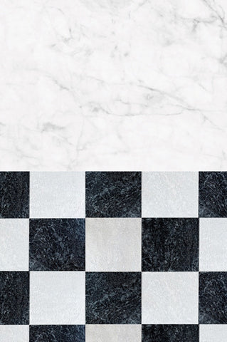 S105 White Marble Checkerboard Pattern Switchover Backdrop - Backdrop Outlet