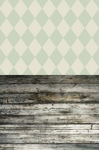 S110 Mint Harlequin Grunge Ash Wood Switchover Backdrop - Backdrop Outlet