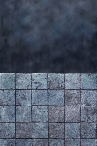 S114 Porpoise Blue Ocean Slate Stone Tiled Switchover Backdrop - Backdrop Outlet