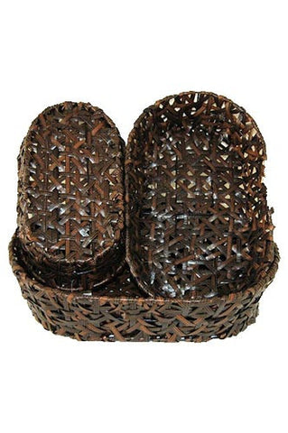 LCPRA40093 Dark Brown Woven Oval Posing Bowl (Set Of 3)