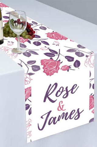 PTR100 Pink Purple Flower Printed Cloth Table Runner - Backdrop Outlet