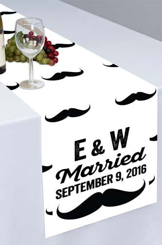 Mustache Themed Printed Cloth Table Runner - PTR104 - Backdrop Outlet