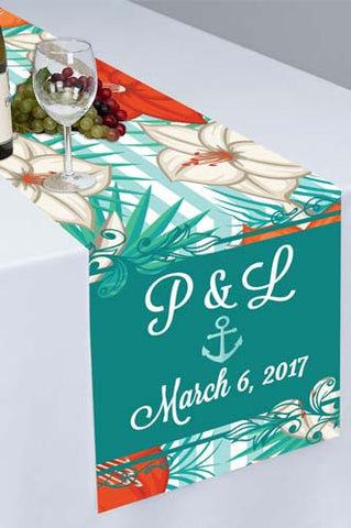 PTR108 Nautical Blue Red And White Flower Printed Cloth Table Runner - Backdrop Outlet