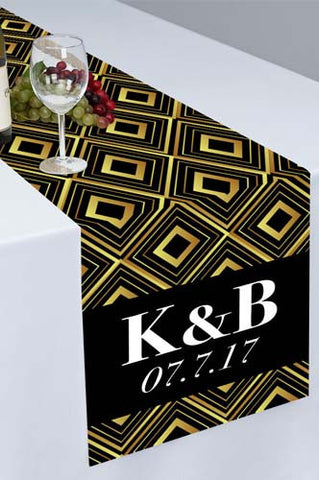 PTR109 Gatsby Inspired Golden Geometric Printed Cloth Table Runner - Backdrop Outlet