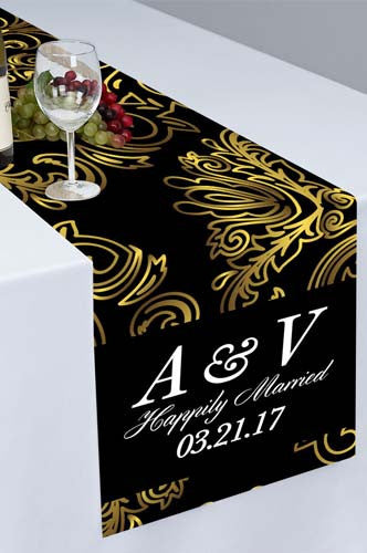 PTR111 Golden Flourish Floral Printed Cloth Table Runner