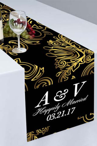 PTR111 Golden Flourish Floral Printed Cloth Table Runner - Backdrop Outlet