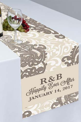 Silver Flourish Floral Printed Cloth Table Runner - PTR112 - Backdrop Outlet