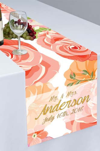 Pastel Pink Peach Printed Cloth Table Runner - PTR113 - Backdrop Outlet