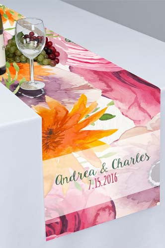 Watercolor Flowers Printed Cloth Table Runner - PTR115 - Backdrop Outlet