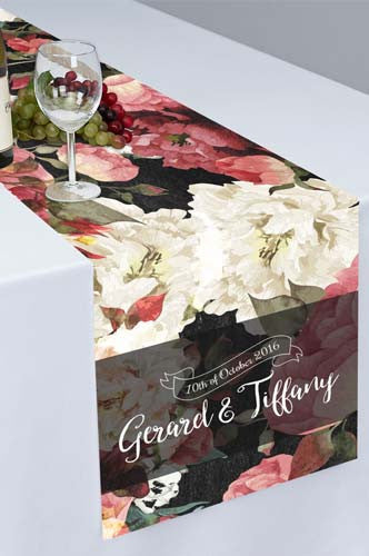 White Red Rose Budding Printed Cloth Table Runner - PTR116 - Backdrop Outlet