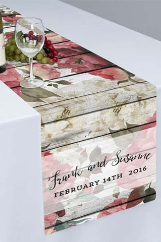PTR117 White Floral Rustic Wood Printed Cloth Table Runner (Great for Weddings or Bridal Shower) - Backdrop Outlet