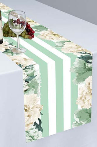 PTR120 Ivory and Mint Printed Cloth Table Runner - Backdrop Outlet