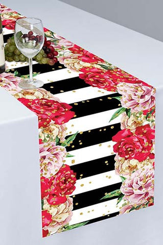 PTR121 Kate and Spade Inspired Printed Cloth Table Runner - Backdrop Outlet