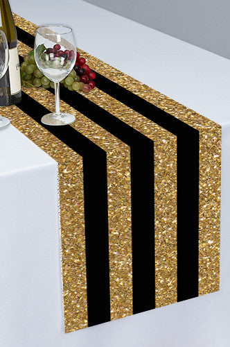 Black and Gold Stripes Printed Cloth Table Runner - PTR122 - Backdrop Outlet