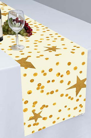 PTR123 Twinkle Twinkle Little Star Gold Printed Cloth Table Runner - Backdrop Outlet