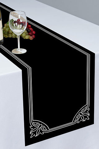 PTR126 Black Printed Cloth Table Runner - Backdrop Outlet