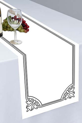 PTR127 White Printed Cloth Table Runner - Backdrop Outlet