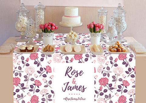 PTTC100 Custom Pink and Rose Table Topper - Backdrop Outlet