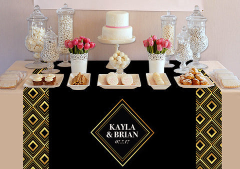 PTTC109 Custom Gold Geometric Table Topper - Backdrop Outlet