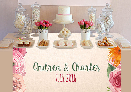 Custom Water Color Flower Table Topper - PTTC115 - Backdrop Outlet