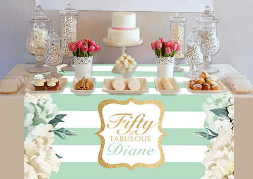 Custom Ivory and Mint Design Table Topper - PTTC122 - Backdrop Outlet