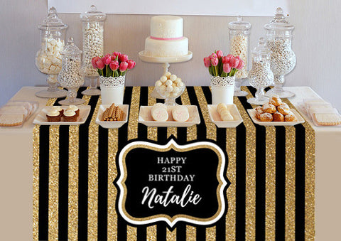PTTC124 Custom Black and Gold Stripes Design Table Topper - Backdrop Outlet