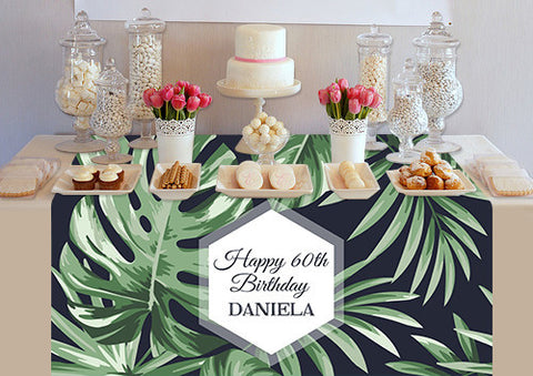 PTTC130 Custom Palm Leaves Table Topper - Backdrop Outlet