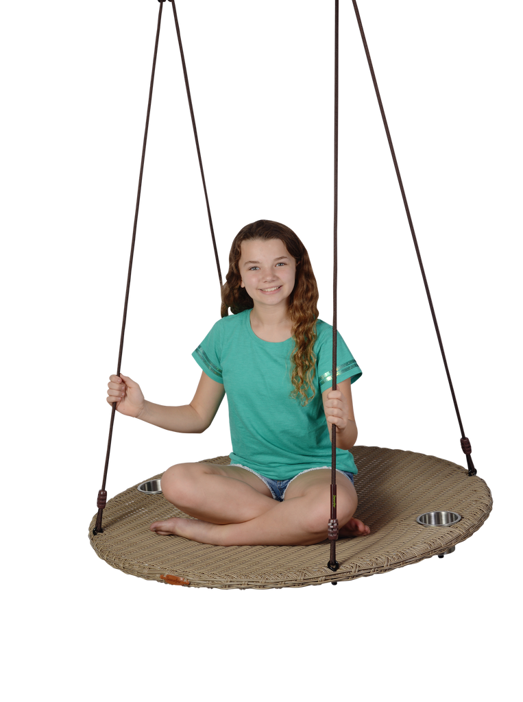 "NEW! Swurfer® Chill -  Round 40"" Outdoor Rattan Patio Swing"
