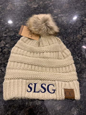 SLSG Women's Cream Knit Hat
