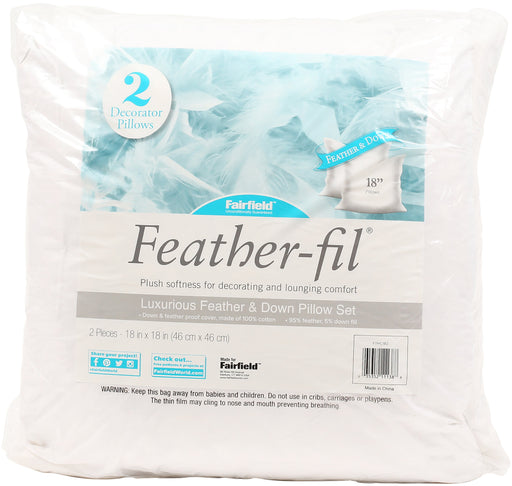Feather Fil Feather & Down Pillow Insert 2pk 18inX18in