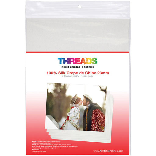 THREADS Inkjet Printable Fabric Sheets 8.5inX11in 6/Pkg 100% Silk Crepe de Chine 23mm