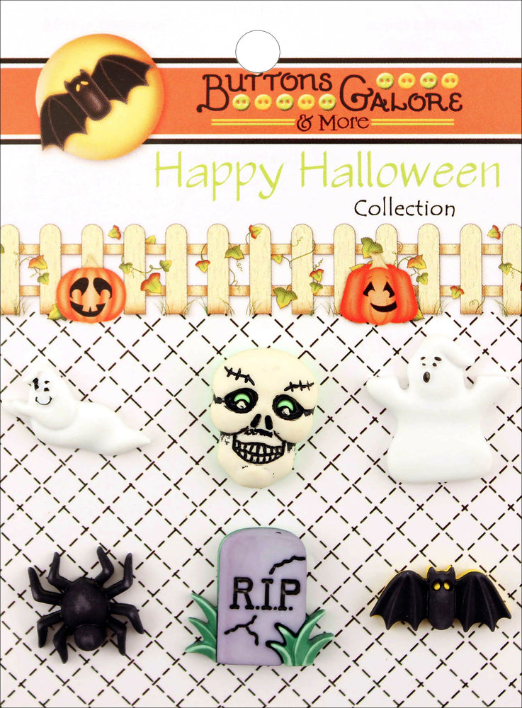 Buttons Galore Halloween Buttons So Scary 6pk