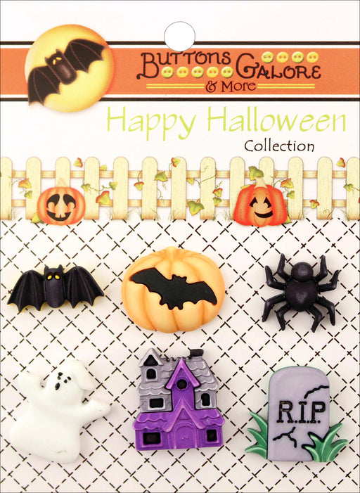 Buttons Galore Halloween Buttons Happy Hauntings 6pk