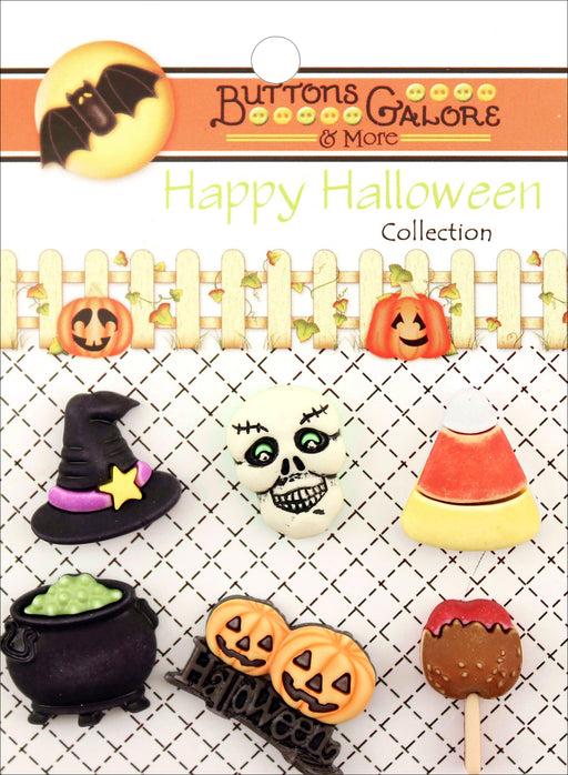 Buttons Galore Halloween Buttons Witchy 6pk