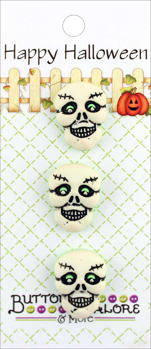 Buttons Galore Halloween Buttons Skulls 3pk