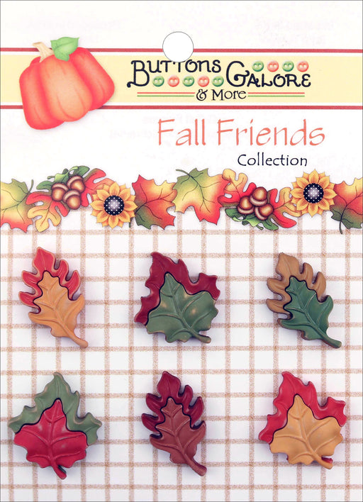 Buttons Galore Fall Friends Buttons Falling Leaves 6pk