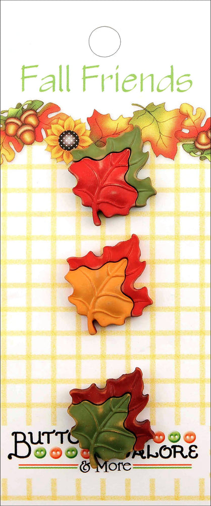 Buttons Galore Fall Friends Buttons Maple Leaves 3pk