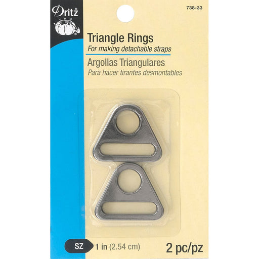 Dritz Triangle Rings Gunmetal 1in 2pk