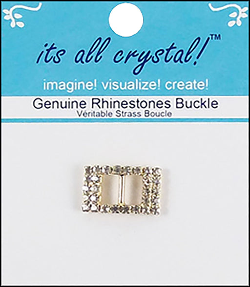 Vision Trims Genuine Rhinestone Rectangle Buckle Gold 21mm