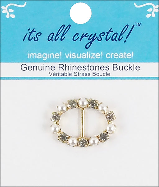 Vision Trims Genuine Rhinestone Oval Buckle Gold & Pearl 28mm